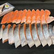 【北海道】最高級定置網活〆時知らず甘塩切身1尾分(特大サイズ)【釧路町昆布森産】 1尾2,6kg以上の時知らずの甘塩切身(半身で1パック×2)※ご要望に応じて、半身10切取り(標準)、9切取り(やや厚切)、8切取り(極厚切り)、※標準でアラは同梱です。 魚介類(鮭) 通販