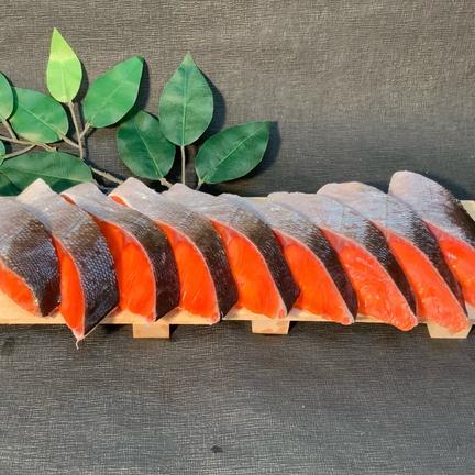 釧路和商市場_丸栄田村商店 北洋海域ロシア産甘塩紅鮭切身1尾分(半身9切×2パック) 半身9切×2パック